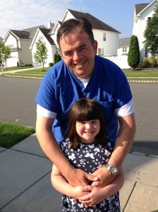 Daddy and Madi at the bus stop today
